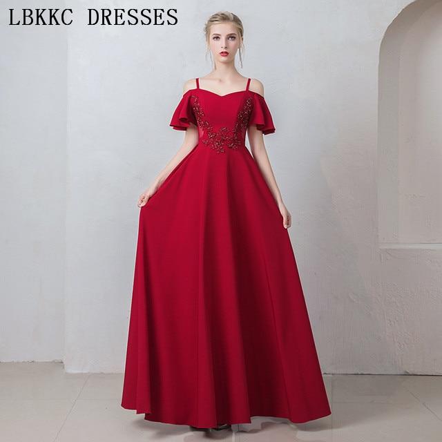 Burgund Satin Prom Kleider Spaghetti Strap Gala Jurken Boot ausschnitt Vestido De Festa Kurzarm Prom Kleid Frauen Abendkleid