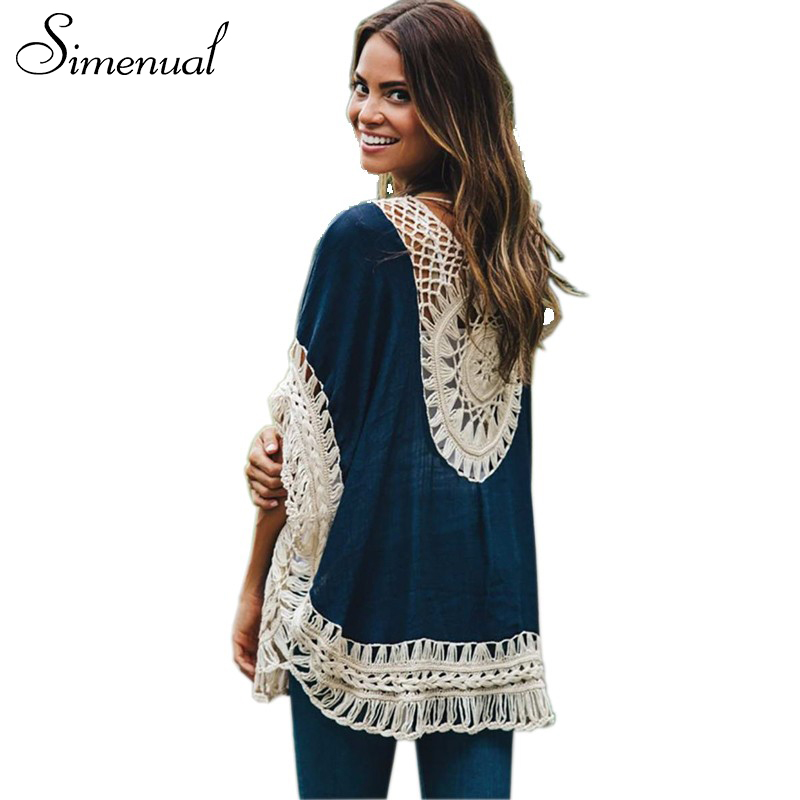 Tamaño grande Bohemia hecho a mano crochet lace blusas mujeres camisas beach cover up patchwork suelta batwing manga pareos señoras blusa