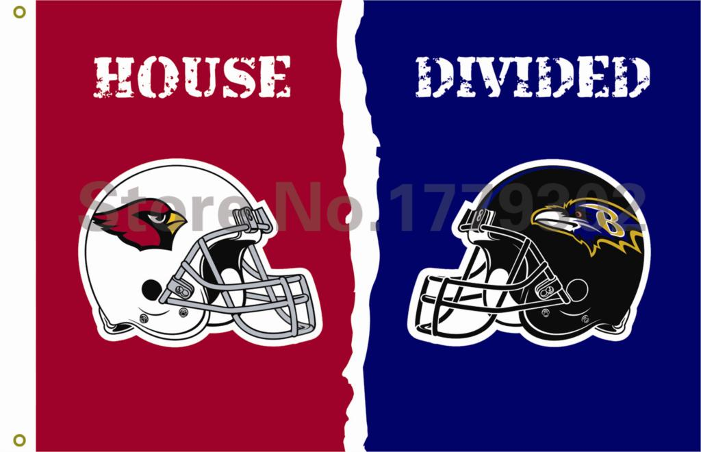 Arizona Cardinals Baltimore Ravens helmets House Divided Flag3ft x 5ft