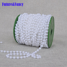 Future and Fancy High quality 6 mm width fishing line bead imitation pearl bead chain wedding 25 m per piece decoration 2pcs/lot