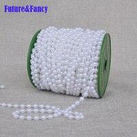 Futuro e Fantasia Di Alta qualità 6mm larghezza linea di pesca bead imitazione branello della perla della catena di nozze 25 m per pezzo decorazione 2 pz/lotto