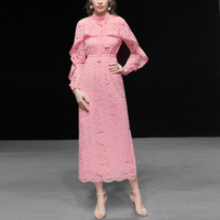2019 подиумное длинное платье высокого качества дизайнерское модное весеннее платье для женщин элегантное платье с длинным рукавом с оборка