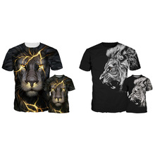 Kids Shirt Animal Lion 3D Print T-Shirt Fashion Boy Girl Cool Clothes Casual Cotton Summer Round Collar Children Tops Tees New