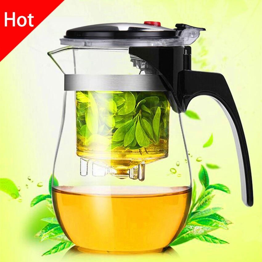Alta calidad resistente al calor tetera de cristal kung fu té Set Puer hervidor de café fabricante de vidrio conveniente Oficina Tea Pot