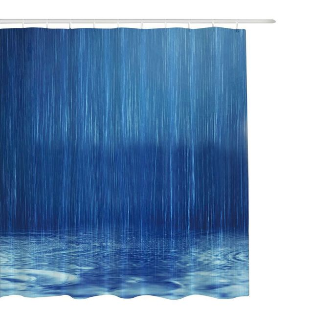 Non Toxic No Smell 6 Size Blue Polyester Mildew Resistant Shower Curtain Waterproof Bathroom Partition