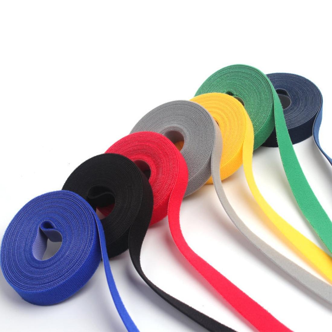 Многоцветная застежка многоразовая волшебная лента крюк Питания Провод петля лента нейлоновые ремни нейлоновые кабельные стяжки 1 см * 5 м