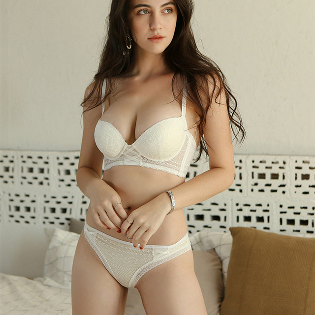 c24abccd76 Wriufred Women Push up Embroidery Bras Set Lace Lingerie Bra and Panties  Comfort Sexy Wire Free Bra Knickers Set Fine Lace Bra