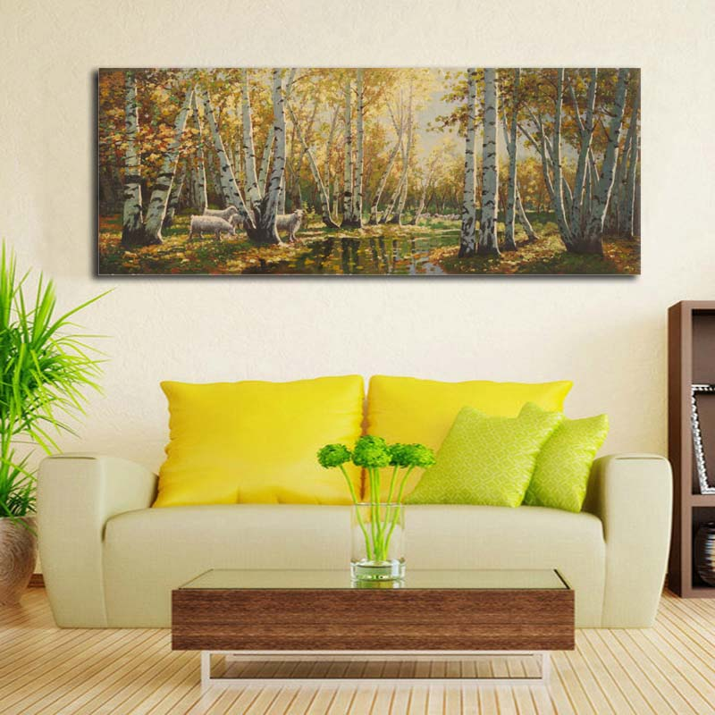 Impressionist oil painting on canvas large autumn birch - Landscape paintings for living room ...