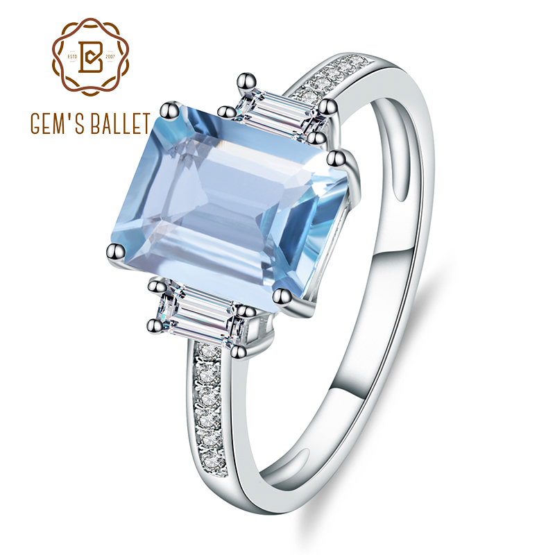 Gem's Ballet Natural Sky Blue Topaz Gemstone Rings For Women Genuine 925 Sterling Silver Ring Wedding Engagement Fine Jewelry