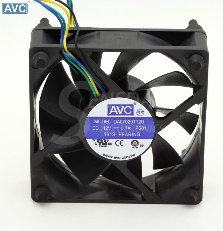 For AVC DA07020T12U 7CM 70mm cpu case cooling fans 7020 DC 12V pwm tempreture  cooler