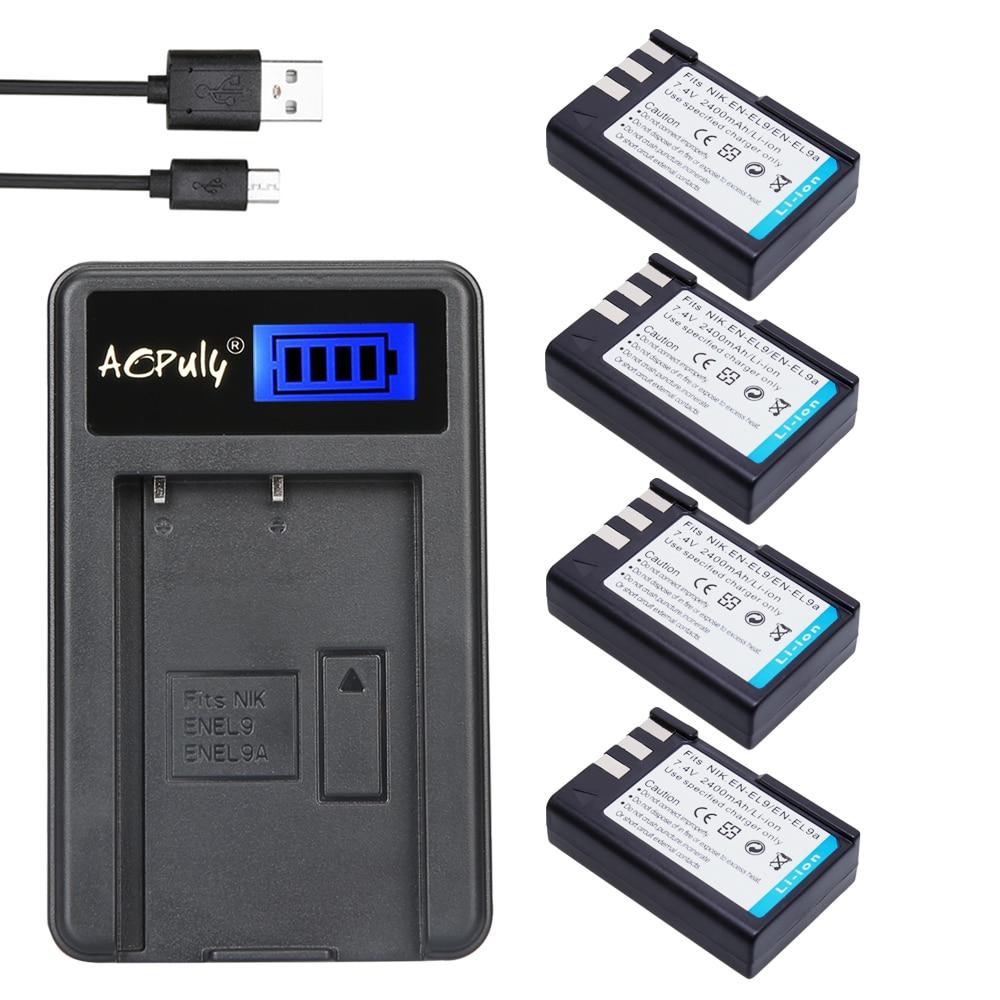 Chaud 4 pièces EN-EL9 bateria EN EL9 EN-EL9a EN EL9a EL9a batterie + USB Chargeur LCD Pour Nikon EN-EL9a D40 D60 D40X D5000 D3000 Caméra
