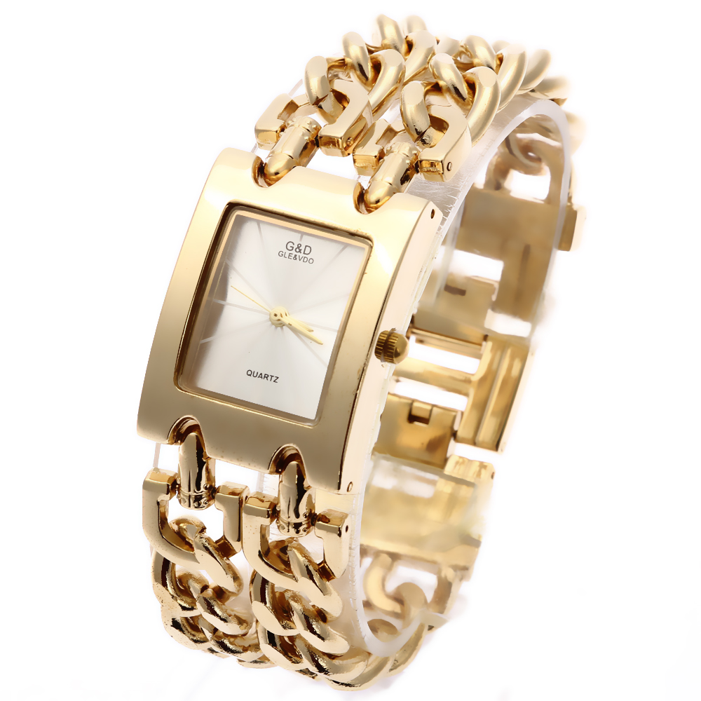 G & d النساء المعصم كوارتز ساعة الذهب - ساعات نسائية