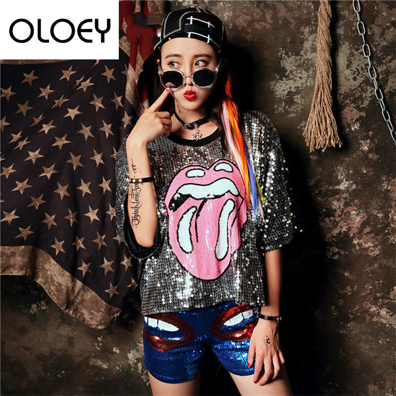 OLOEY 2018 Summer Shirt With Sequins Casual Tops   Tees Half Sleeve Short T- Shirt Mouth Pattern Shirt For Women Casual S655 725213c15e64