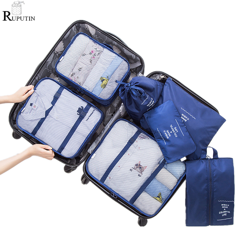 4 Set Packing Cubes Travel Luggage Packing Organizers Little Girl On A Cute Unicorn