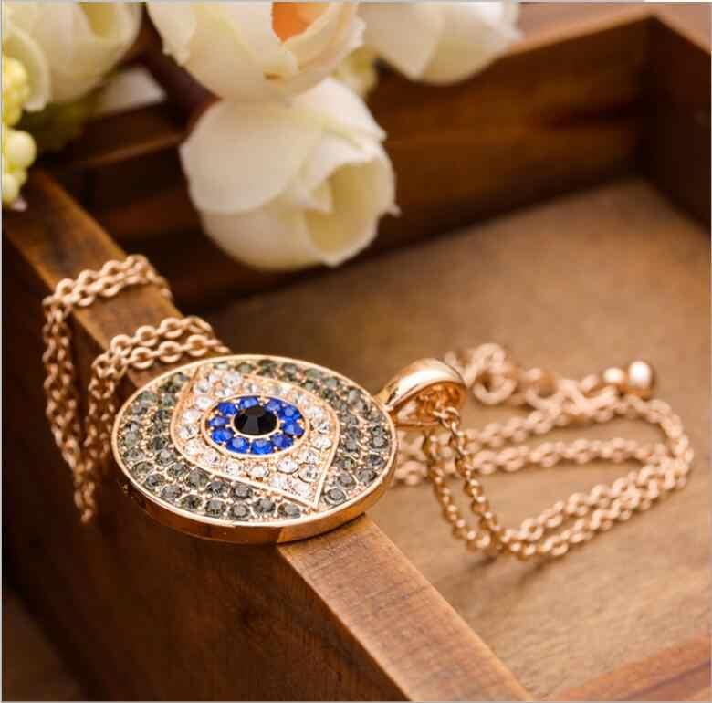 New Fashion Rhinestones Turkey Blue Necklace  Eye of Horus Eye Wedjat Amulet Nazar Stateent Pendant  Necklace Women's Jewelry
