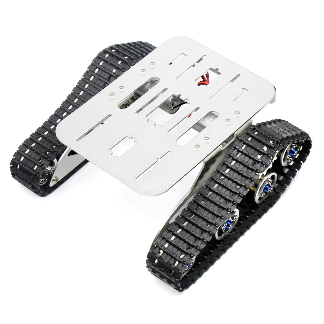 Oyuncaklar ve Hobi Ürünleri'ten Parçalar ve Aksesuarlar'de 4WD Metal Tankı Akıllı Paletli Robot Şasi RC Robot Araba için 210x140x75mm'da  Grup 1