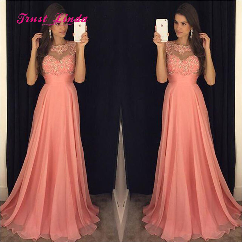 Modest Chiffon Long Dress For Wedding Party For Woman O Neck Appliques Wedding Party Dress Coral Bridesmaid Dresses