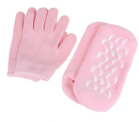 1 set Reusable SPA Gel Socks & gloves Moisturizing whitening exfoliating velvet smooth beauty hand foot care silicone socks 1