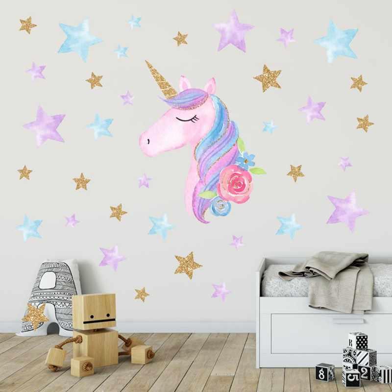 Cute Cartoon Magic Unicorn Horse Heart Stars Wall Sticker Wallpaper Home Room Decor Decal Diy Cartoon Decals For Kids Wall Stickers Aliexpress
