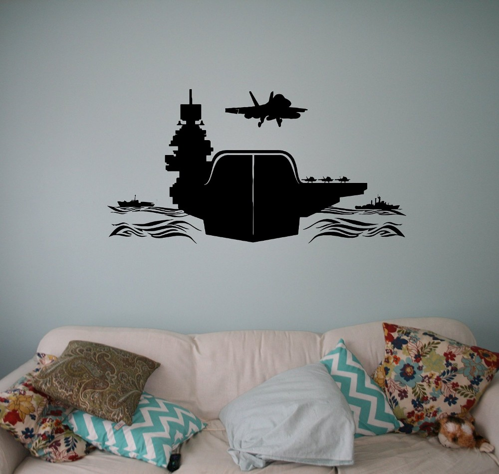 Air Carrier Vinyl Decal Air Force Wall Sticker Aircraft Army Home Wall Interior Bedroom Decor Wall Graphics
