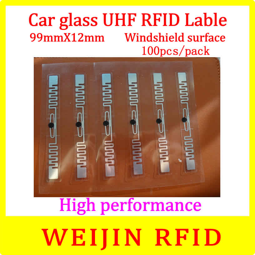 Car glass 9912 UHF RFID Tag 99mm*12mm 100pcs per pack,can be used for  Windshield surface Car management,free shipping. 50pcs 74 21mm rfid gen2 uhf paper tag with alien h3 chip used for warehouse management