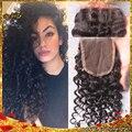 7А Виргинский Бразильский Глубокий Вьющиеся Закрытия Кружева Отбеленные Узлы Человека волосы 3.5*4 Бесплатный Средний 3 Часть Кружева Топ Закрытие Бесплатный доставка