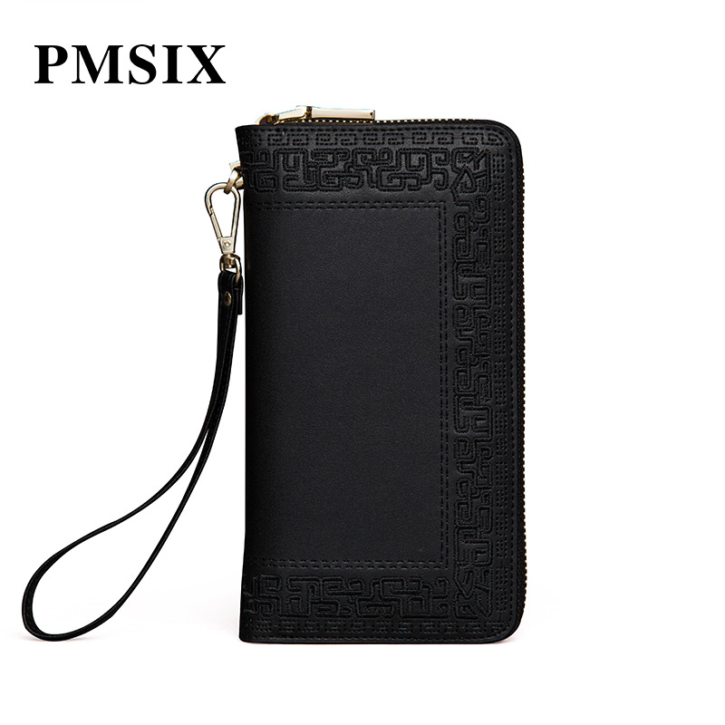 Obliging Pmsix Women Famous Brands Embroidery National Style Split Leather Luxury Female Purse Simple Carteira Feminina Black Or Red Clutches