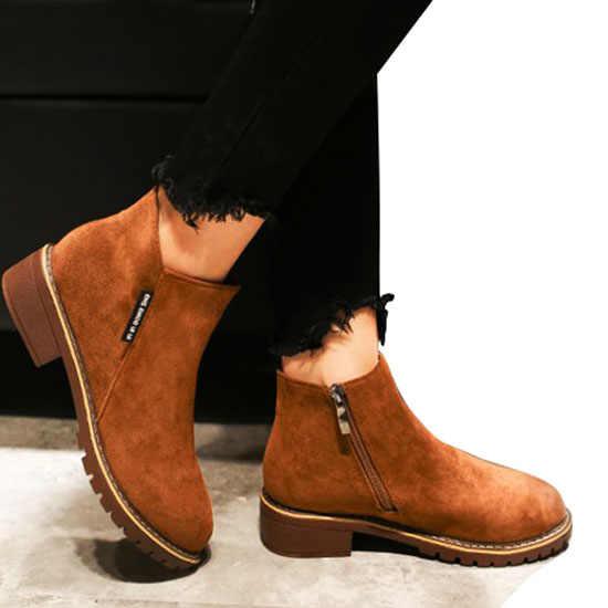 EAGSITY Süet motosiklet botları kadın blok topuk yuvarlak ayak kayma zip moda kışlık bayanlar Chelsea çizmeler kahverengi