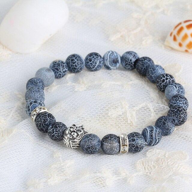 Lion King Design Tiger Eye Stone Mens Beaded Bracelets With Crystal Rivet Black White Beads Strand Bracelet Male Jewelry