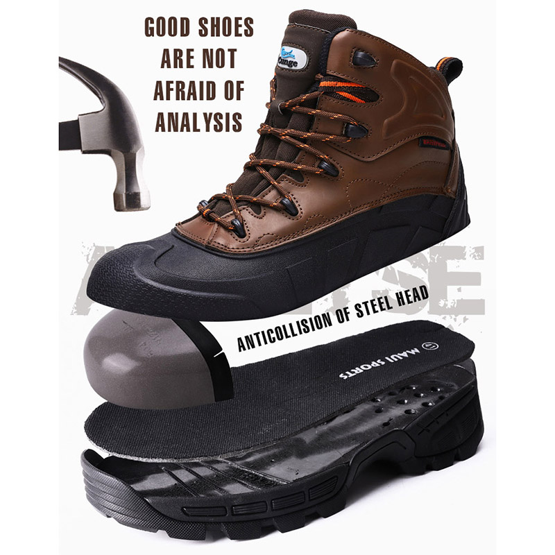 cunge Outdoor New Mens Steel Toe Cap Safety Work Shoes Men Puncture Proof Construction Safety Combat Boots Cowhide hiking Shoes in Hiking Shoes from Sports Entertainment