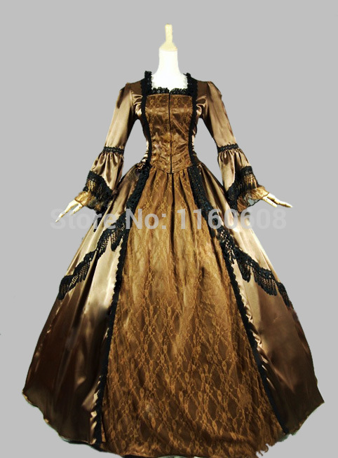 Brown Satin Lace Victorian Dress Marie Antoinette  Stage Ball Gown