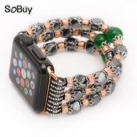 So buy for Apple Watch band sport series 3/2/1 stone strap iwatch wristband hematite jewelry 42mm wrist bracelet 38mm watchbands