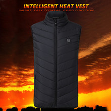 Hiking Vests USB Electric Heated Vest Men&Women Heating Waistcoat Thermal Warm Clothing Feather Hot Sale Winter Heated Jacket(China)