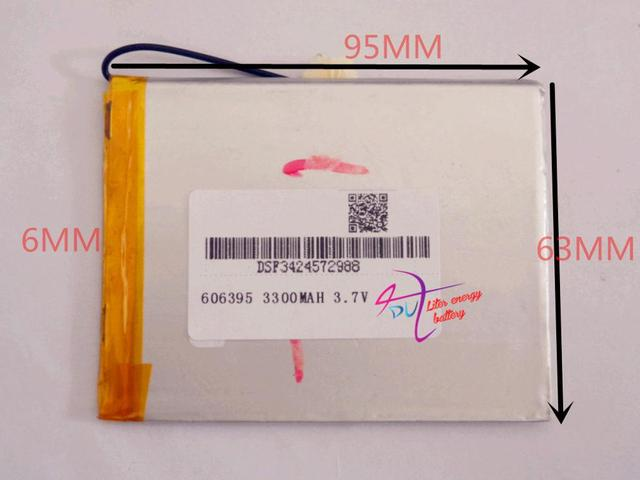 Size 606395 3.7V 3300mah tablet battery with protection board For Tablet PCs PDA Digital Products