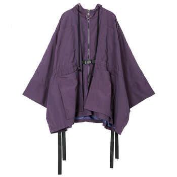 LANMREM 2019 New Fashion Oversize Hooded Full Sleeve Bawting Type Big Size Jacket Female\'s Zipper Pockets Coat Vestido YE38314