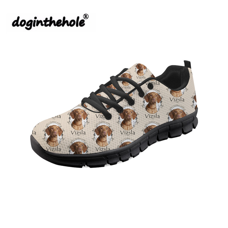doginthehole Women Shoes Cute Vizsla Dog Printing Fashion Sneakers Ladies Lace-up Flat Shoes for Females Breathable Mesh Shoes