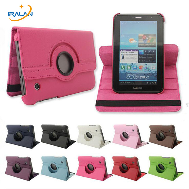 """Hot 360 Rotating PU Leather Case Cover for Samsung Galaxy Tab 2 7""""GT-P3100 P3110 P3113 +stylus free shipping Christmas gift"""