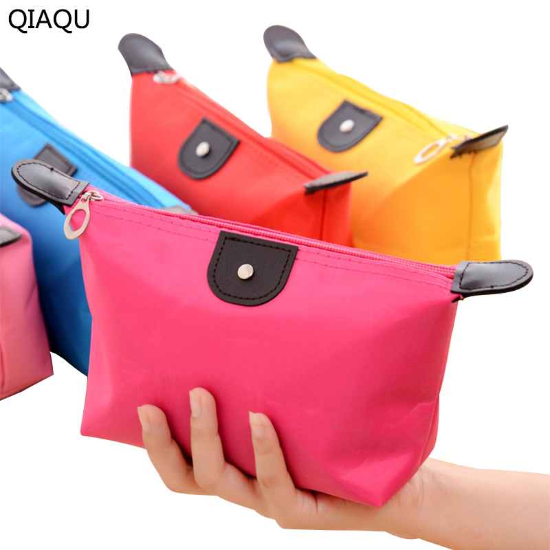 QIAQU Candy Color 13 Colors Optional Lady Travel Cosmetic Bag Nylon Waterproof Hobos Beautician Makeup Storage Bag Organizer