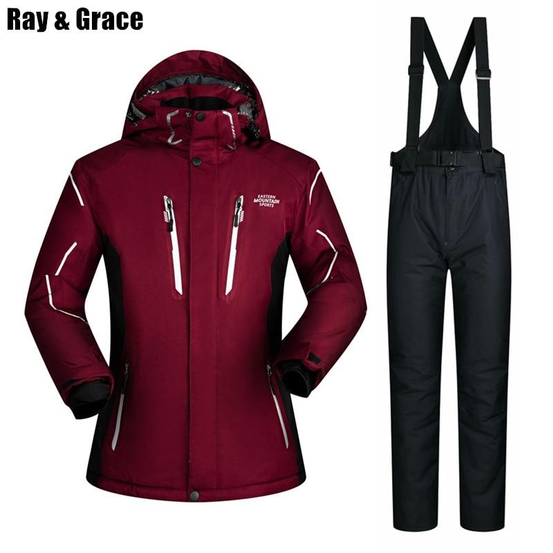 RAY GRACE Men's Snowboarding Set Waterproof Windproof Ski Suit Jacket Pants Set Skiing Snow Thermal Winter Sportswear For Men цена