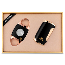 cohiba cigar lighter gift set portable stainless steel cutter scissors windproof inflatable christmas CL-0191