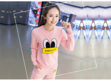 New O-neck Long-sleeve Women's Sets Sport Suit Rubber Duck Print Solid Sweatshirt Pants Women 2 Piece running Sets Tracksuit