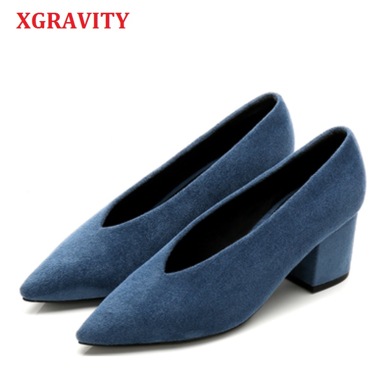 XGRAVITY Flock Footwear Designer Vintage Evening Shoes Ladies Fashion Pointed Toe V Cut Woman Shoes High Heel Pumps Sexy C061
