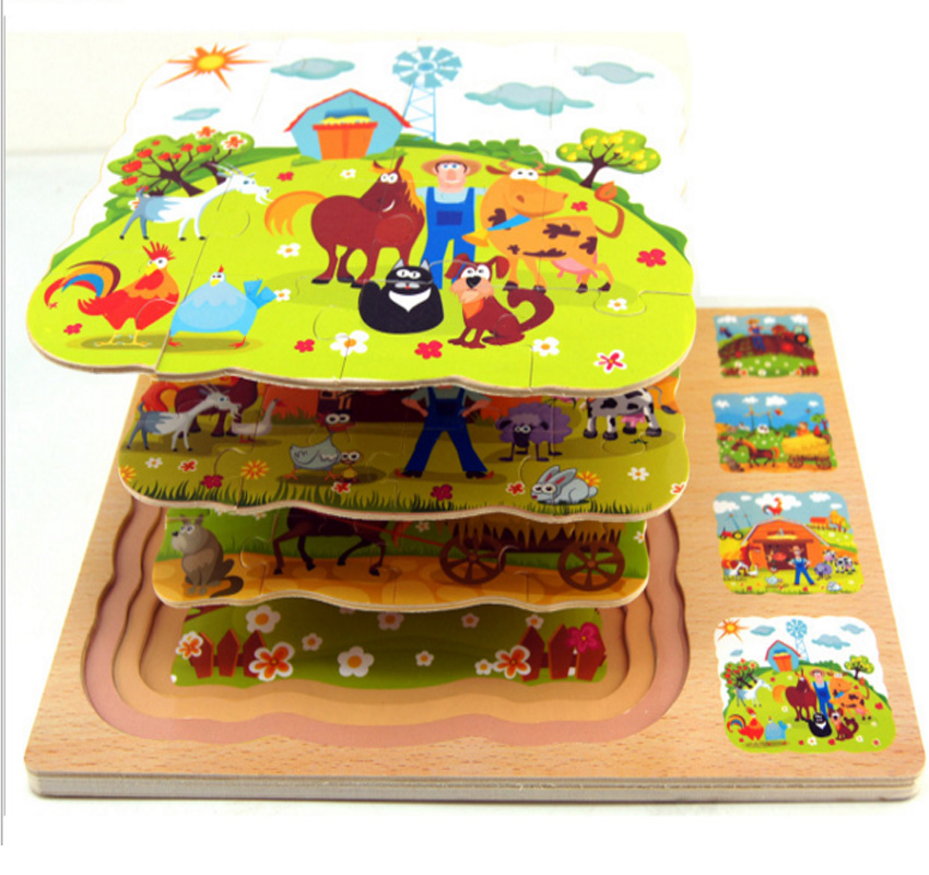 Children Wooden Toy Jigsaw Puzzle farm Animal educational toys Multilayer tortoise Multilayer hare 3D puzzles Toys for kids Gift