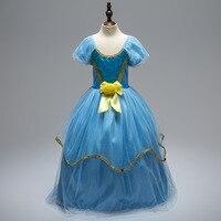 Niños de Cumpleaños Fiesta de Halloween Traje de los Muchachos Niños de La Princesa Cenicienta vestido de Bola Puffy Manga Azules Vestidos de Boda para Las Niñas