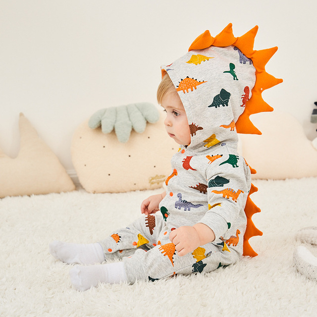 Baby Dinosaur Costumes Newborn Baby Girls Rompers Pajamas Button Up Toddler Infant Boys Jumpsuits Spring Children Cotton Outfits