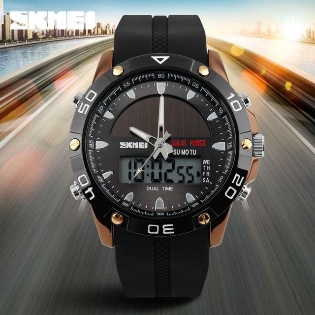 Brand Solar Energy  Mens Quartz Watch Men Sports Watches Relogio Masculino Digital Multifunctional Outdoor Wristwatches SKMEI