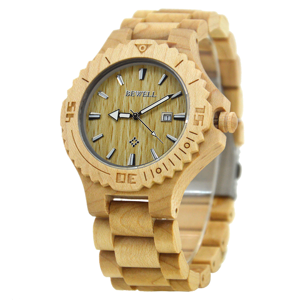 BEWELL Men Watches 2018 Luxury Brand Wood With Gaiety Appearance Date Antomatic Watch Luminous Pointers With Box As Gift 023B