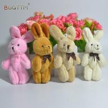 2Pcs/Set Wedding Gift Joint Rabbit Bouquet DOLL TOY DIY Pendant Plush Stuffed TOY Soft Figure Candy Box DOLL TOY 4Colors