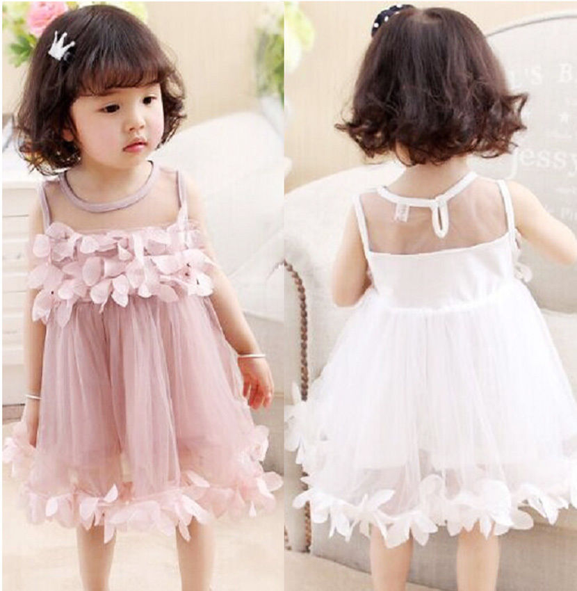 Flower Kids Baby Girl Clothing Dress Princess Sleeveless Ruffles Tutu Ball Petal Tulle Party Formal Cute Dresses Girls cute princess baby girls sleeveless floral tutu tulle cotton summer dress for 0 4y