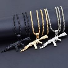 3 цвета, стимпанк, персонализированное, AK47, пистолет, Большая подвеска, ожерелье s, мужское, черное, серебряное, золотое, сплав, штатное, мужское ожерелье, хип-хоп ювелирное изделие